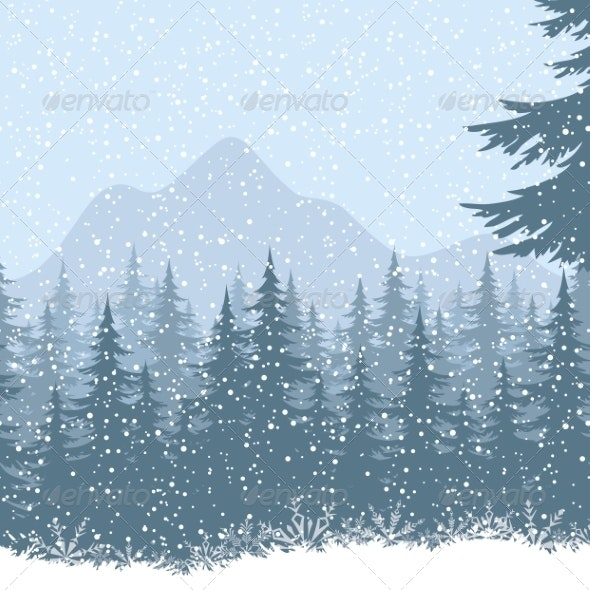Winter Mountain Landscape with Fir Trees - Landscapes Nature
