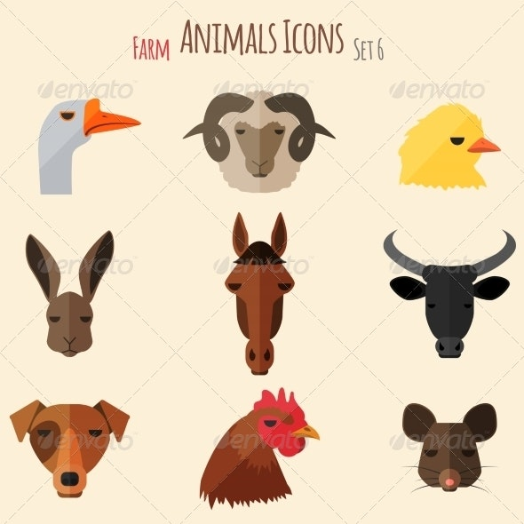 Farm Animals Icons with Flat Design - Animals Characters