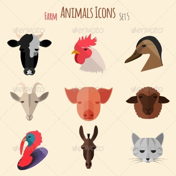 Farm Animals Icons with Flat Design