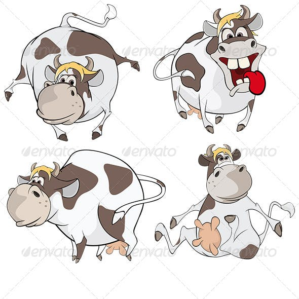 Set of Cows Cartoon