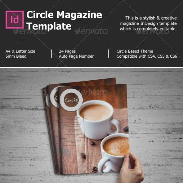 Circle Magazine Template-Indesign 24 Page Layout