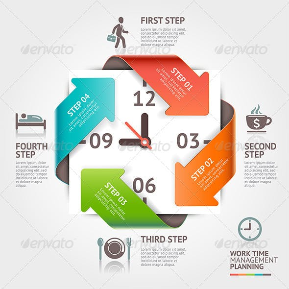 Arrow Timeline Management Infographics