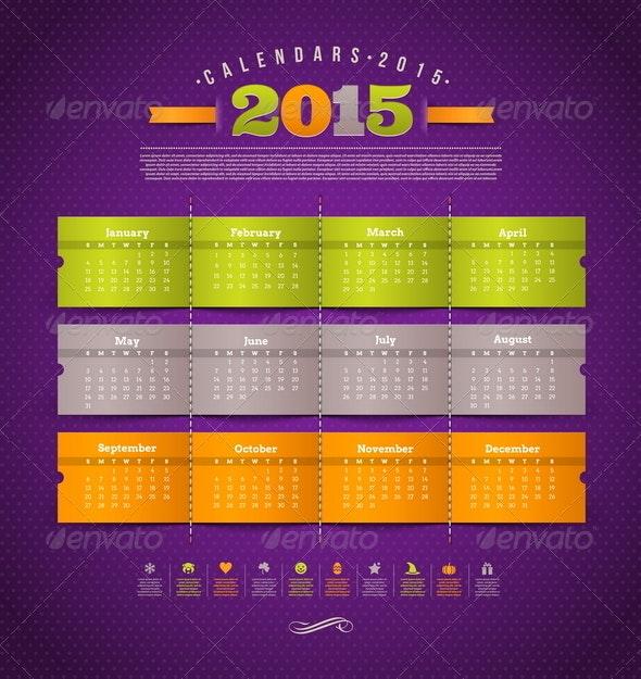 Template Calendar 2015 - Seasons/Holidays Conceptual