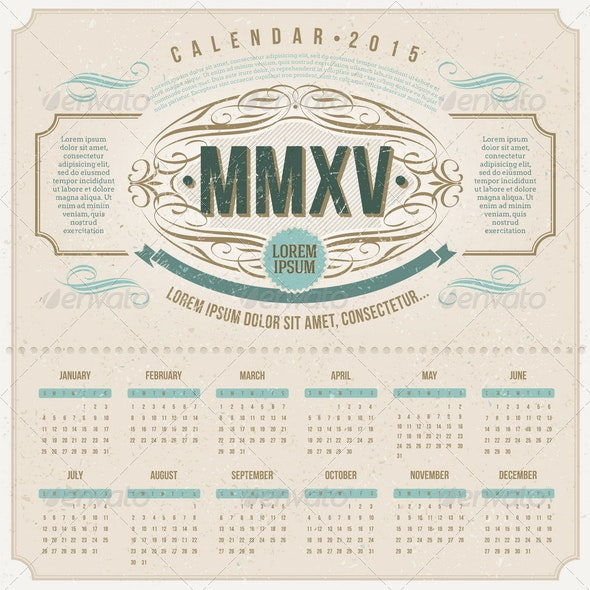 Ornate Vintage Calendar of 2015 - Abstract Conceptual