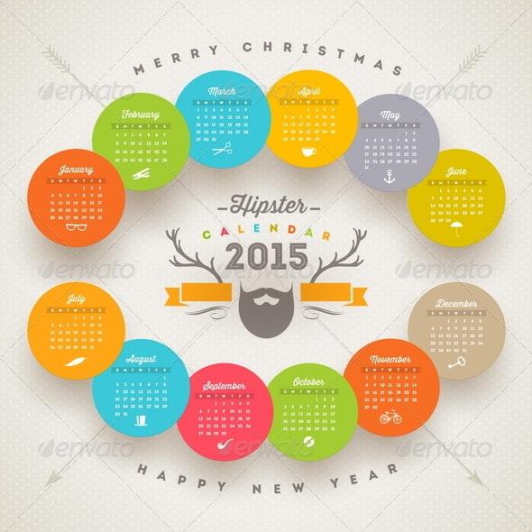 Hipster Calendar 2015 - Seasons/Holidays Conceptual