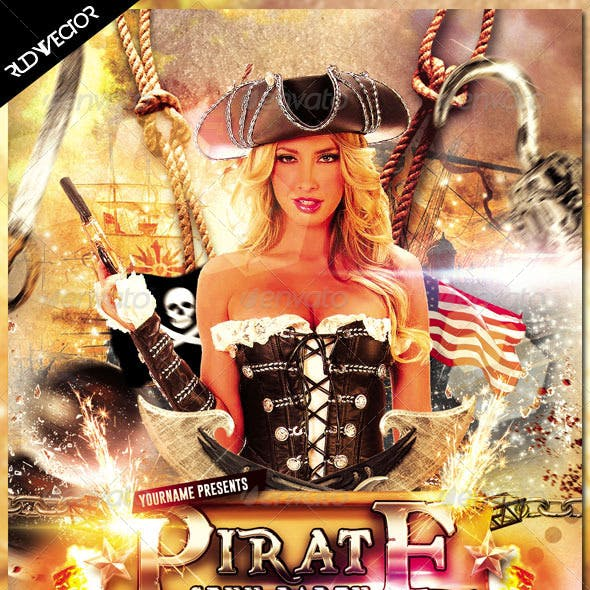 Sexy Pirate Costume Party Flyer Design