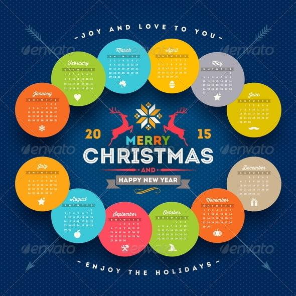 Calendar 2015 with Christmas Type Design - Seasons/Holidays Conceptual