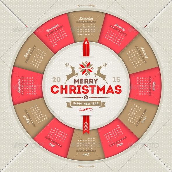 Calendar 2015 with Christmas Type Design - Christmas Seasons/Holidays