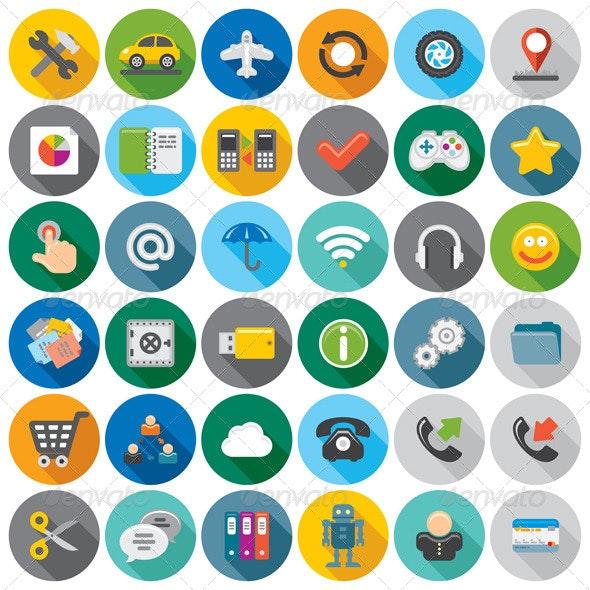 Cartoon Flat Icons - Computers Technology