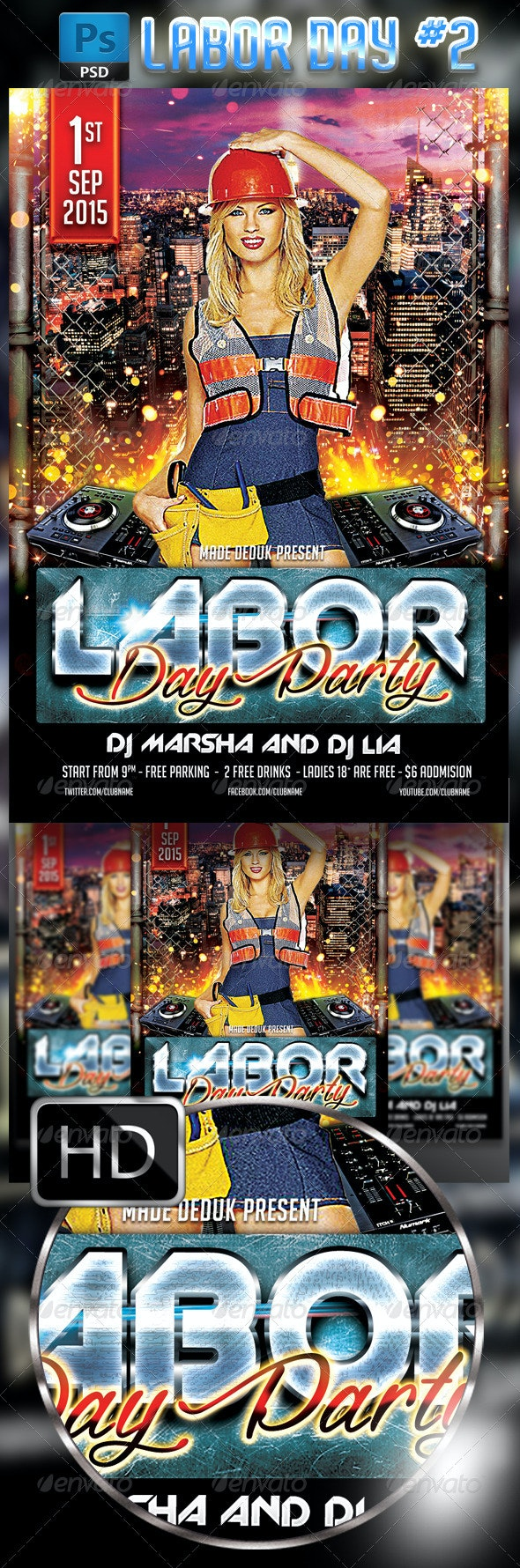 Labor Day Flyer Template #2 - Clubs & Parties Events