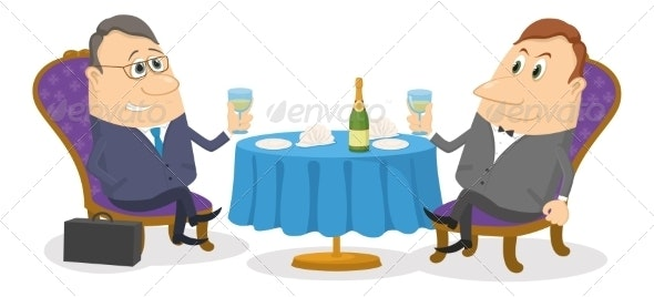Two Businessman near Table - People Characters
