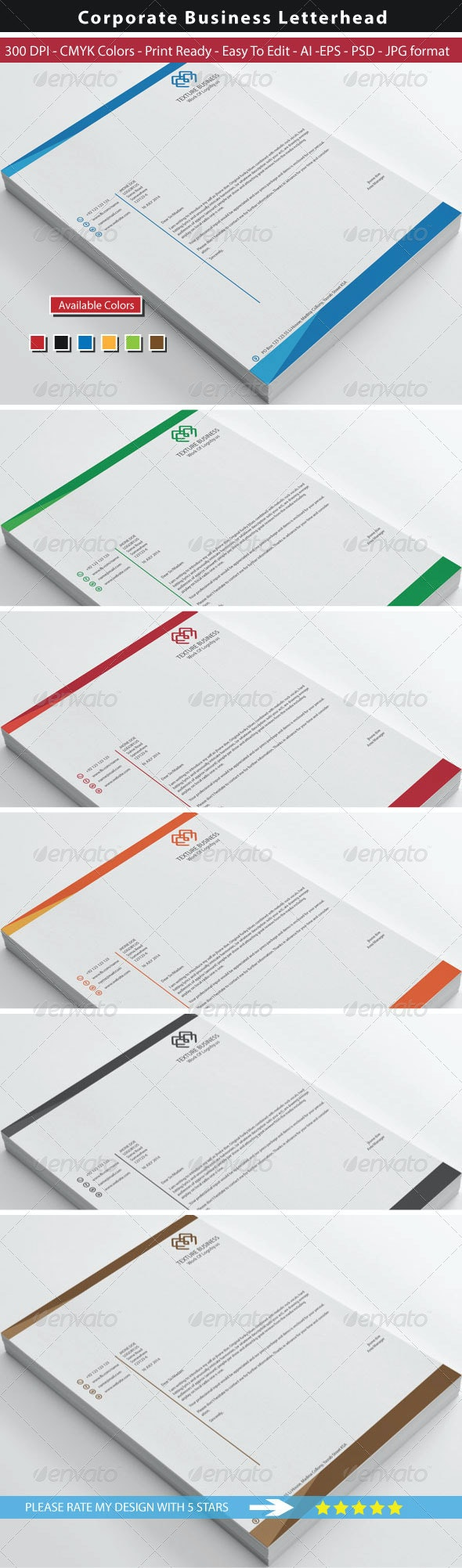 Clean Texture Letterhead - Stationery Print Templates
