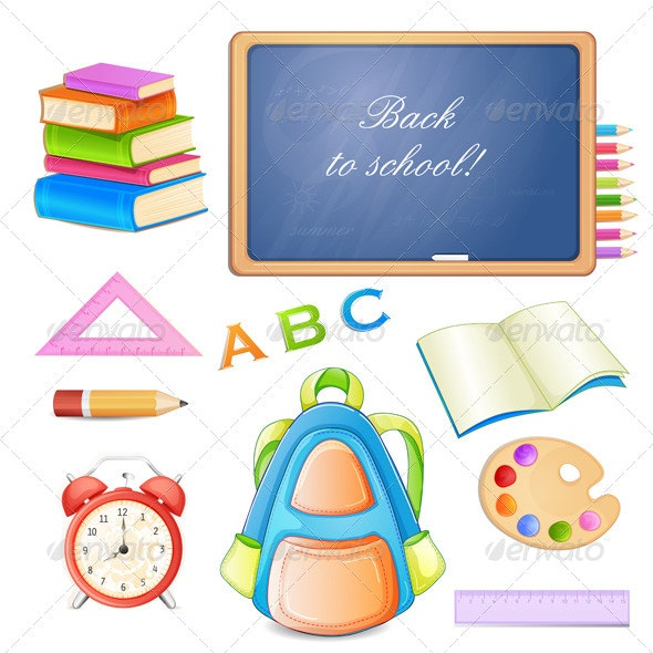 School Elements Isolated on White Background. - Miscellaneous Conceptual