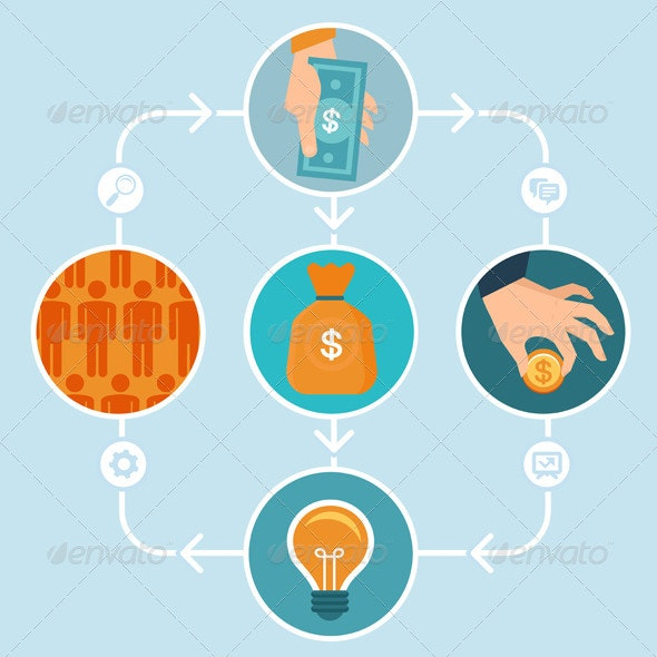 Vector Crowdfunding Concept in Flat Style - Business Conceptual
