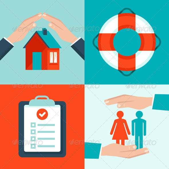 Vector Insurance Concepts in Flat Style - Business Conceptual