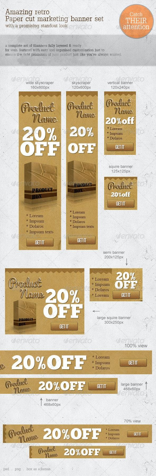 Retro Paper-cut Web Marketing Banners - Banners & Ads Web Elements
