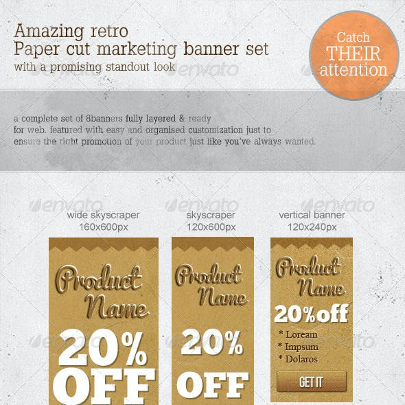 Retro Paper-cut Web Marketing Banners