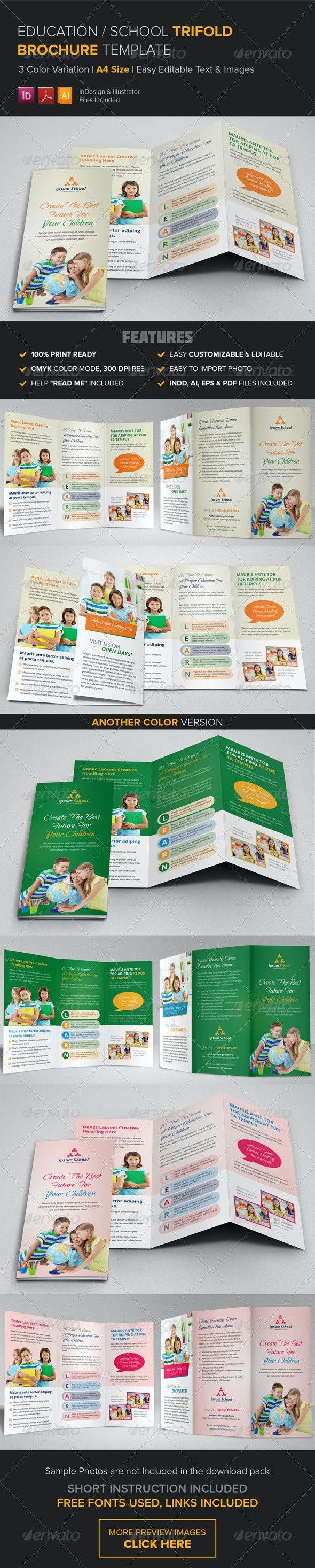 Education School Trifold Brochure Template - Corporate Brochures