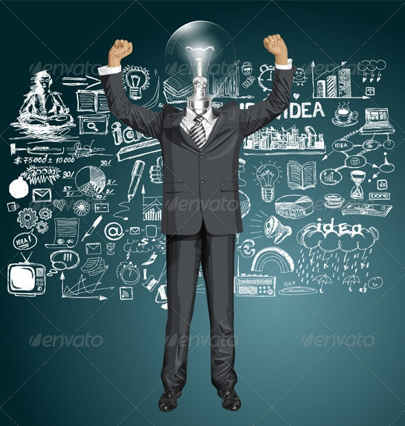Vector Lamp Head Businessman With Hands Up - Business Conceptual