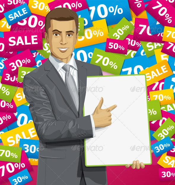Vector Businessman With Empty Write Board - People Characters