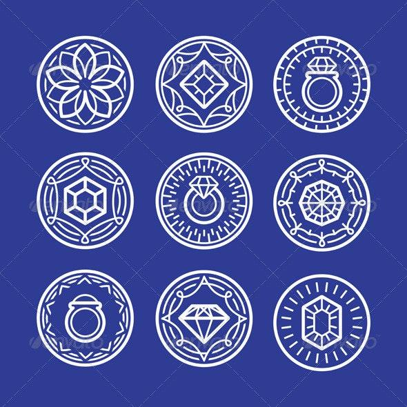 Vector Jewelry Signs and Emblems  - Decorative Vectors