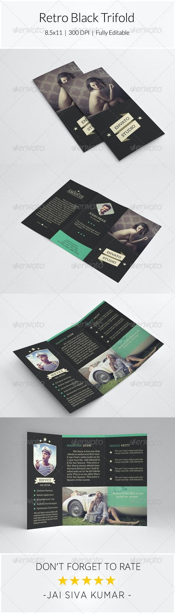 Retro Black Trifold - Informational Brochures
