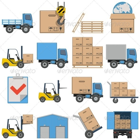 Vector Flat Icons - Shipping - Industries Business