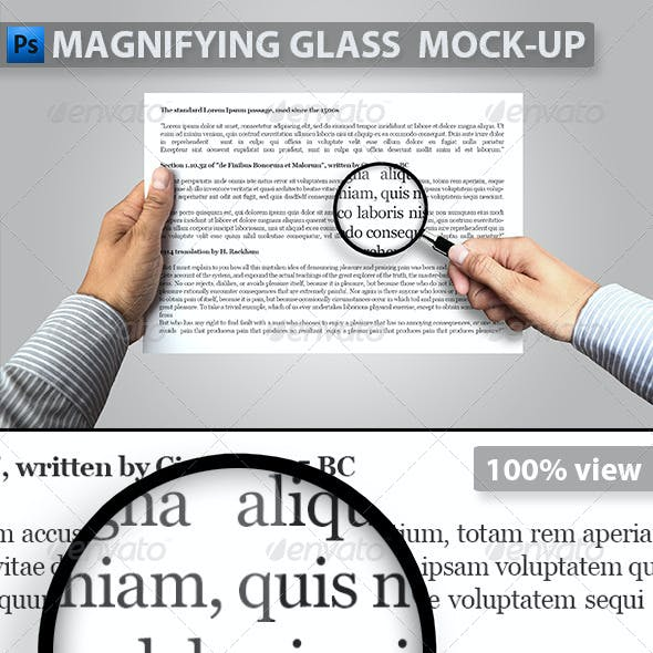 Magnifying Glass and Paper in Hand Mock-up