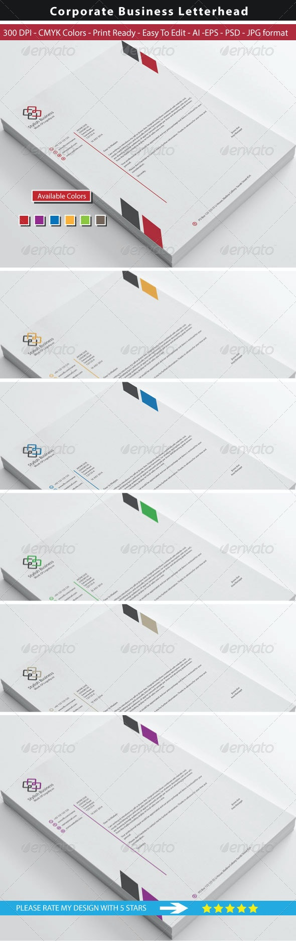 Clean Stylish Business Letterhead - Stationery Print Templates