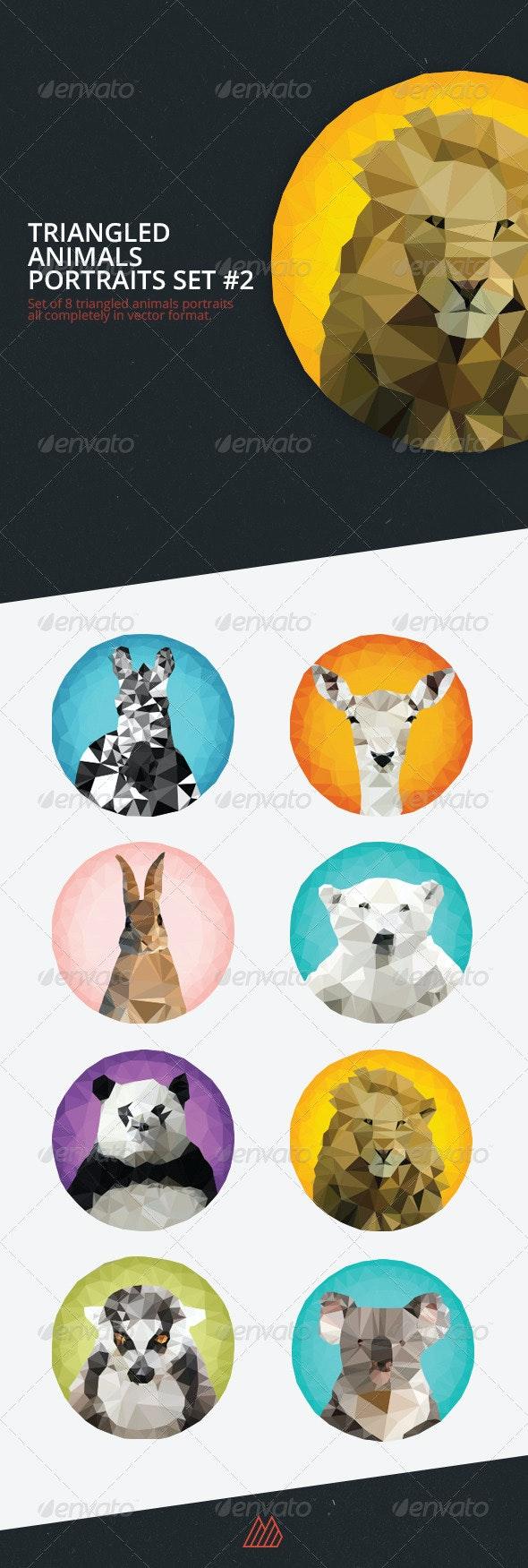 Triangled Animals Portraits Set #2 - Animals Characters
