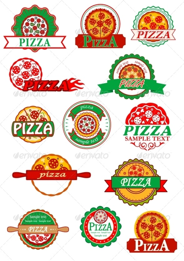 Italian Pizza, Banners, Emblems and Labels Set - Food Objects