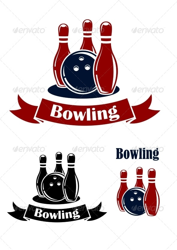 Bowling Emblems with Ball and Ninepins - Sports/Activity Conceptual