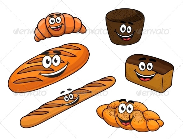 Cartoon Bread Bakeries - Food Objects