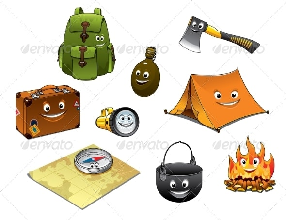 Cartoon Camping and Travel Icons Set - Travel Conceptual