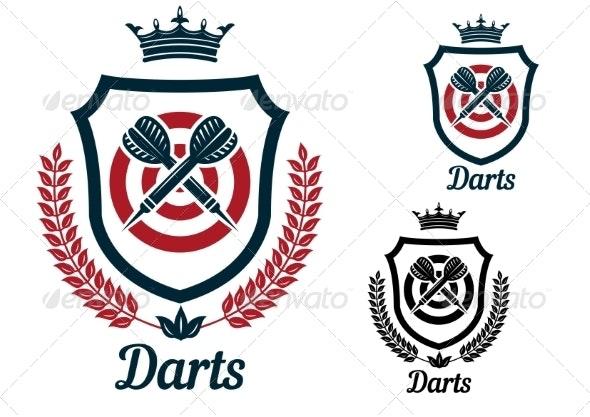 Darts Emblems or Signs Set - Sports/Activity Conceptual