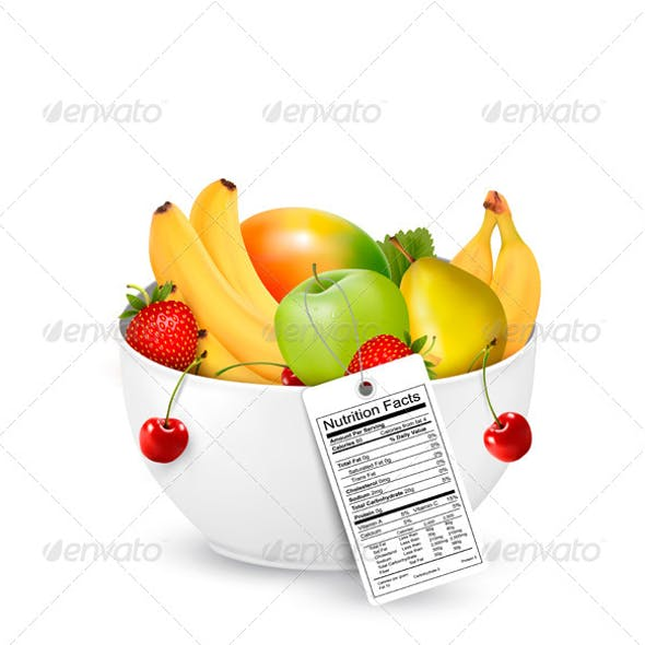 Bowl of Healthy Fruit with a Nutrient Label