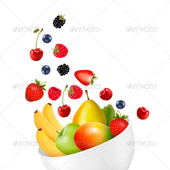 Bowl of Healthy Fruit Concept of Diet