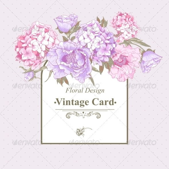 Vintage Greeting Card with Hydrangea and Peonies - Patterns Decorative
