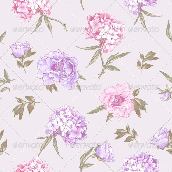 Seamless Background with Hydrangea and Peonies   - Patterns Decorative