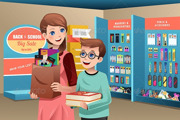 Mother and Son Buying School Supplies - People Characters