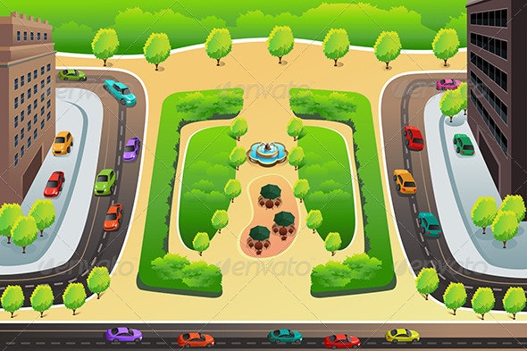 View of a Highway and a Park from Above - Objects Vectors