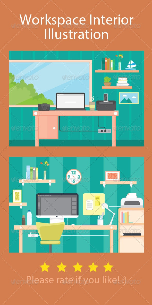 Workspace Interior Illustration - Objects Vectors
