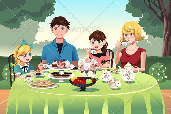Family having a Tea Party Together - People Characters
