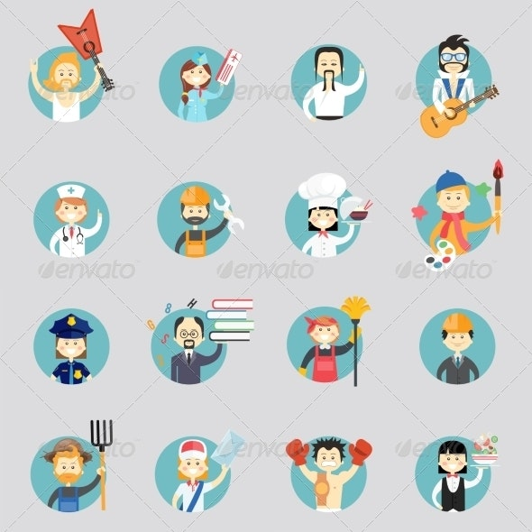 Badges with Avatars of different Professions - People Characters