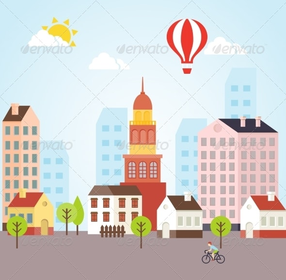 Seamless Vector Sunny Town Landscape Background - Miscellaneous Vectors