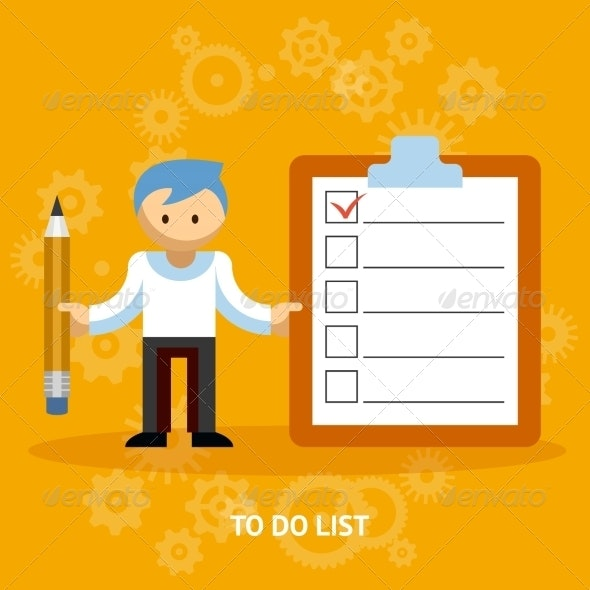 Businessman Cartoon Character with Checklist - Concepts Business