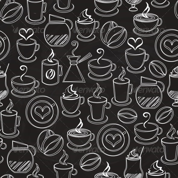Coffee Seamless Background Vector Pattern - Patterns Decorative