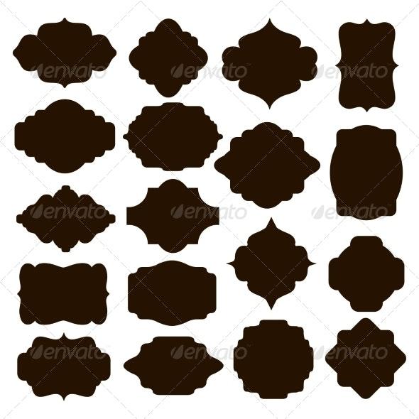 Set of Black Silhouette Frames for Badges - Decorative Symbols Decorative