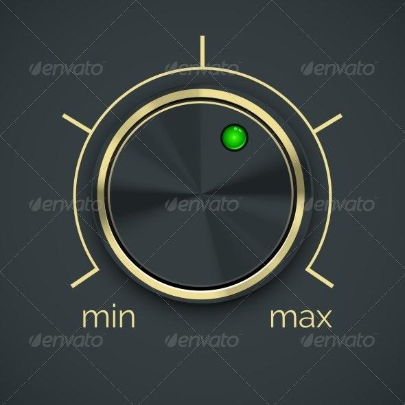Vector Circular Metal Controller with Button - Miscellaneous Vectors