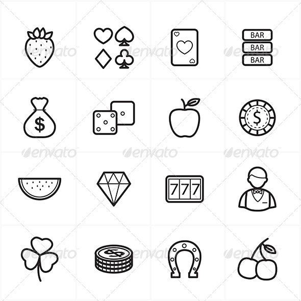Flat Line Icons For Casino Icons and Game Icons - Objects Icons